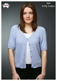 Short Sleeve Lace Cardi - Cotton 8 Ply