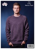 Classic Raglan V or Round Neck Jumper - Merino Magic Flecks 8 Ply